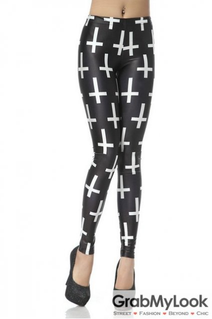 Cross Monogram Punk Rock Gothic Skinny Long Yoga Pants Tights Leggings