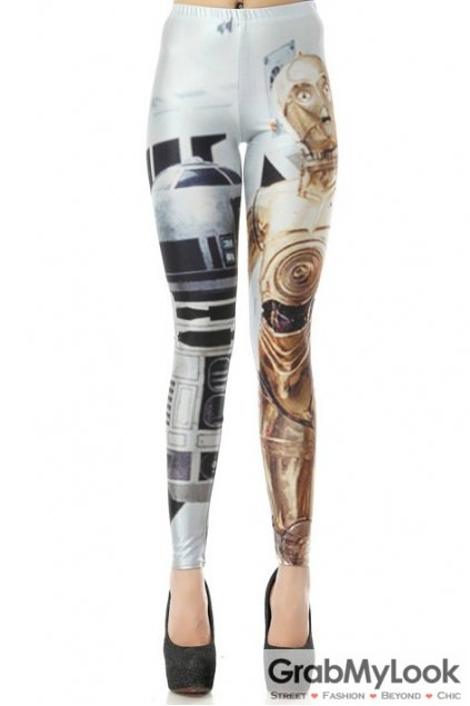 Star War Gold Robots Skinny Long Yoga Pants Tights Leggings