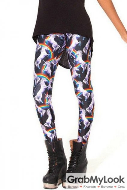 Black Rainbow Unicorn White Horse Skinny Long Yoga Pants Tights Leggings