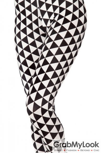 White Black Triangle Geometric Print Skinny Long Yoga Pants Tights Leggings