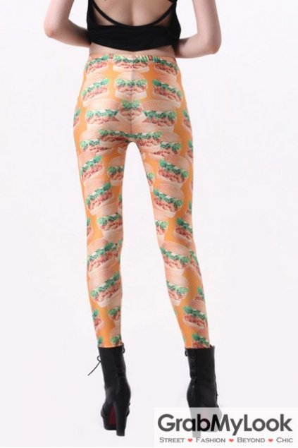 Orange Hamburger Burger Print Skinny Long Yoga Pants Tights Leggings