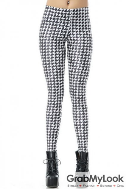 White Black Houndstooth Checkers Skinny Long Yoga Pants Tights Leggings