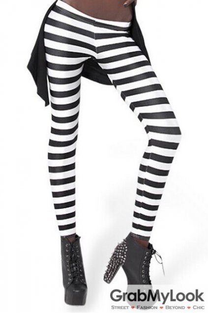 White Black Stripes Skinny Long Yoga Pants Tights Leggings