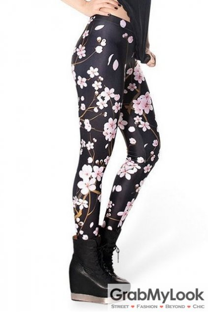 Black Pink Blossom Flowers Skinny Long Yoga Pants Tights Leggings