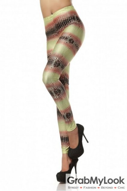 Lime Tribal Crocodile Print Skinny Long Yoga Pants Tights Leggings