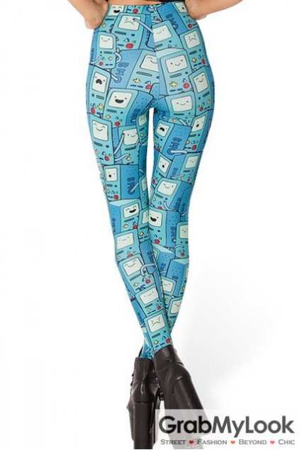 Blue Cartoon TV Game Skinny Long Yoga Pants Tights Leggings