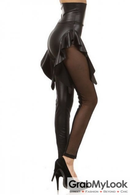 Black PU Faux Leather Side Ruffles Sheer Long Yoga Pants Tights Leggings