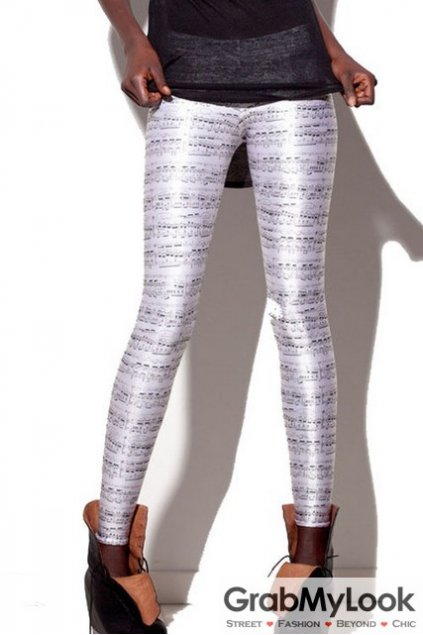 Black White Music Notes Skinny Long Yoga Pants Tights Leggings