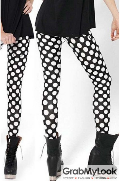 Black White Round Dots Polkadots Skinny Long Yoga Pants Tights Leggings