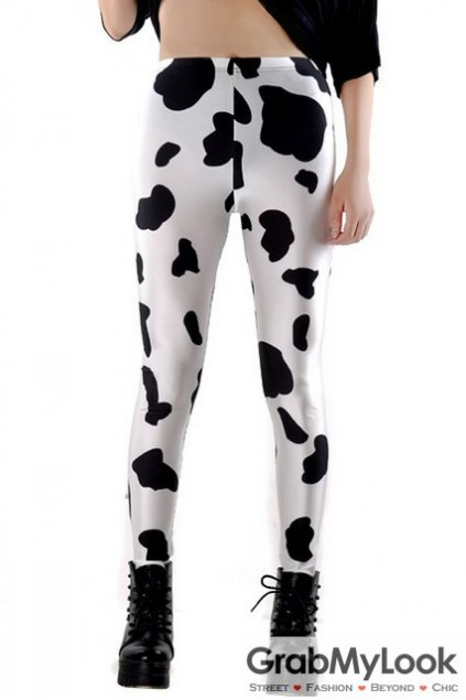 Milking Cow Print Black White Skinny Long Yoga Pants Tights Leggings