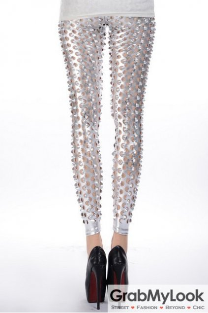 Metallic Mutiple Holes Cutout Pants Tights Leggings
