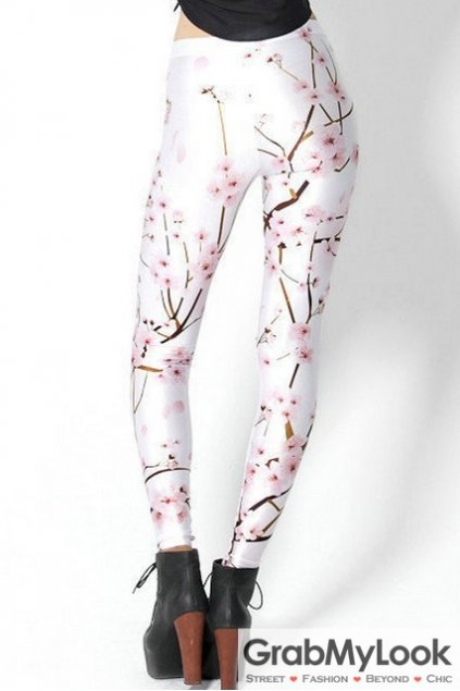 White Pink Blossom Flowers Skinny Long Yoga Pants Tights Leggings