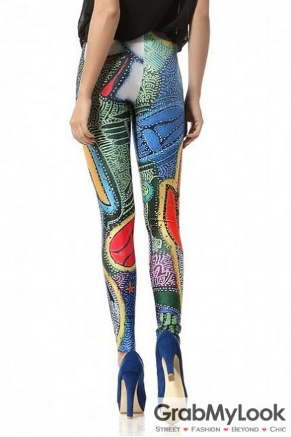 Colorful Abstract Painting Peace Universe Yoga Pants Tights Leggings