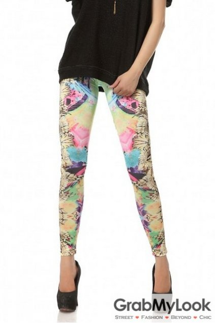 Enthic Abstracts Color Prints Long Yoga Pants Tights Leggings