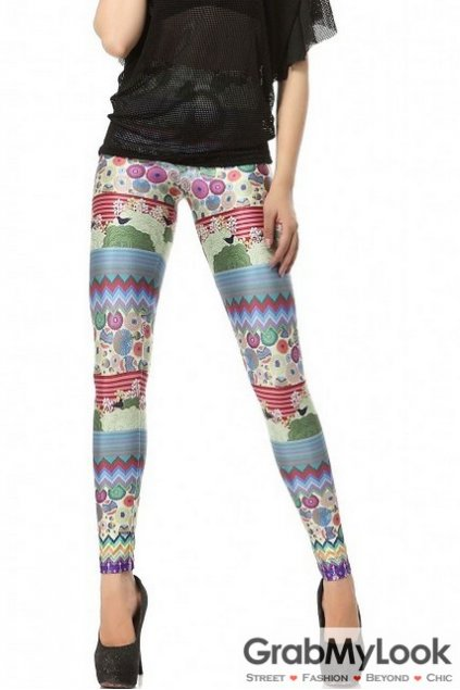 Colorful Tribal Enthic Pattern Yoga Pants Tights Leggings