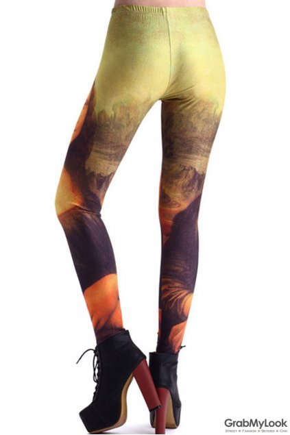 Mona Lisa Oil Painting Vintage Skinny Long Yoga Pants Tights Leggings