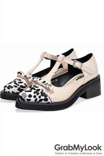 Patent Leather T Straps Point Head Bow Leopard Old School Punk Rock Flat Shoes