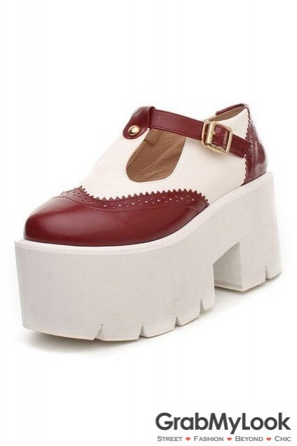 Faux Leather Vintage Old School T Straps Platform Thick Sole Chunky Oxford Shoes