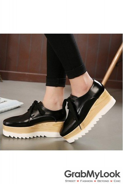 Leather Vintage Old School Blunt Head Lace Up Wedge Platform Oxford Shoes