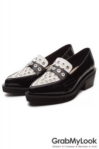 Metal Studs Punk Rock Gothic Point Head Flat Heels Oxford Shoes