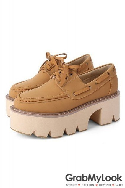Faux Leather Vintage Old School Platform Thick Sole Chunky Oxford Shoes