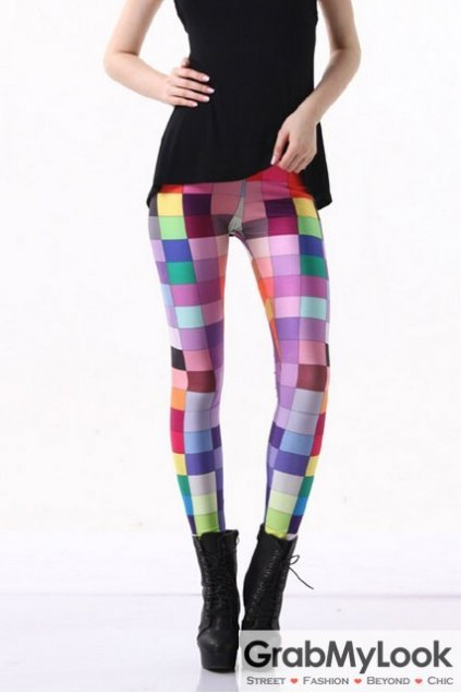 Square Color Board Swatch Chart Long Yoga Pants Tights Leggings