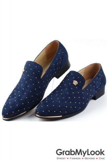 Metallic Gold Studs Rivets Blue Suede Loafers Oxford Men Dress Shoes