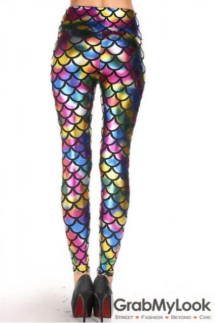 Colorful Metallic Fish Scale Pattern Yoga Pants Tights Leggings