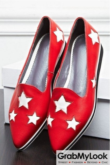 Leather Stars Point Head Flat Wedge Loafers Shoes