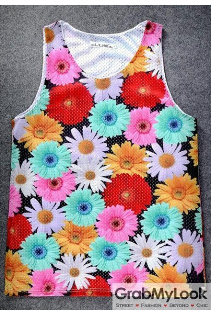 Colorful Chrysanthemum Flowers Net Sleeveless Mens T shirt Vest Sports Tank Top