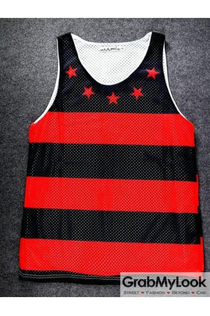 Black Red Stripes Stars Net Sleeveless Mens T shirt Vest Sports Tank Top