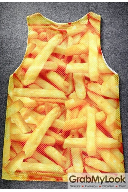 Yellow French Fries Net Sleeveless Mens T shirt Vest Sports Tank Top