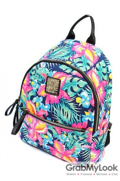 Hawaiian Summer Flowers Floral Punk Rock Funky Backpack
