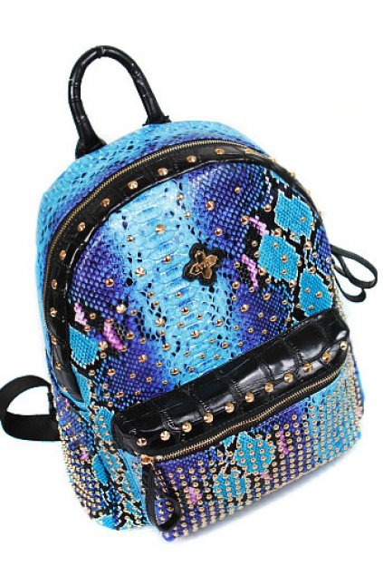 Snake Exotic Skin Leather Studs Gothic Punk Rock Funky Backpack