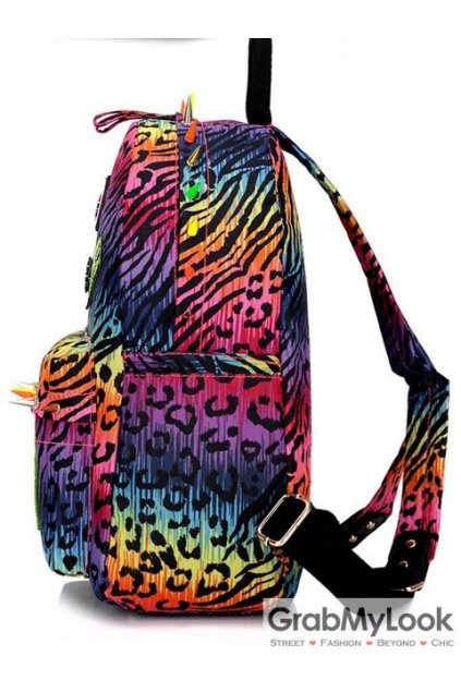 Colorful Leopard Long Spikes Studs Punk Rock Harajuku Funky Backpack