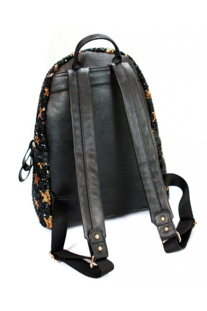 Gold Black Stars Glitters Sequins Metal Studs Punk Rock Gothic Funky Backpack