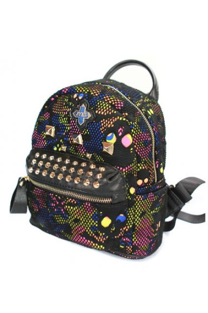 Net Skull Colorful Camouflage Floral Punk Rock Funky Backpack