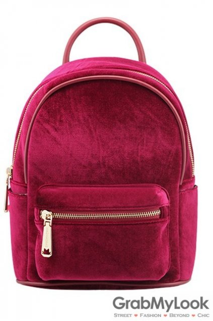 Velvet Suede Fur Glamourous Color Punk Rock Gothic Funky Backpack