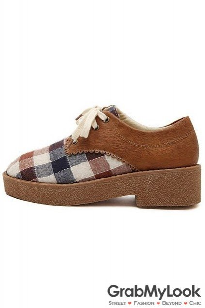 Old School Vintage Checkers Lace Up Platform Oxford Shoes