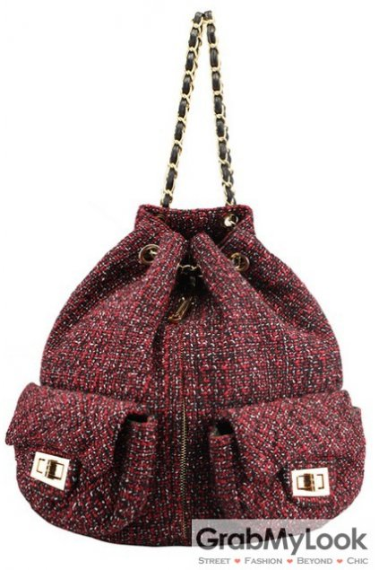Woolen Fabric Metal Chain Draw String High Fashion Backpack
