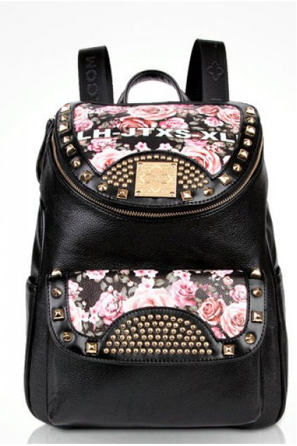 Black Roses Leather Metal Studs Punk Rock Gothic Funky Backpack