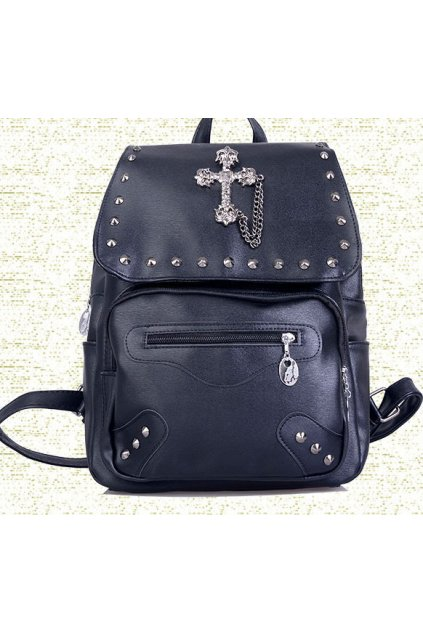 Black Skulls Metal Studs Punk Rock Gothic Funky Backpack