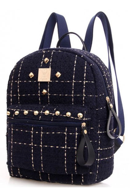 Woolen Fabric Checkers Gold Metal Studs Punk Rock Gothic Funky Backpack