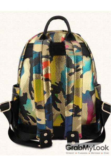 Gold Colorful Camouflage Army Metal Skull Studs Punk Rock Gothic Funky Backpack