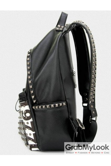 Black Leather Silver Metal Studs Punk Rock Gothic Funky Backpack
