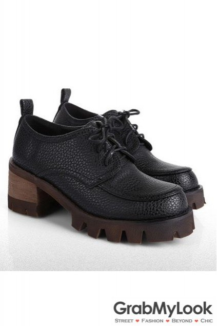 Vintage Leather Big High Heels Rock Punk Lace Up Platform Oxford Chunky Shoes