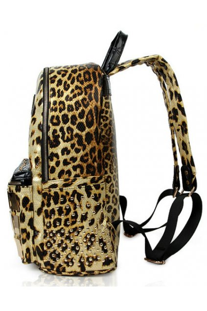 Leopard Print Gold Metal Plate Studs Punk Rock Gothic Funky Backpack