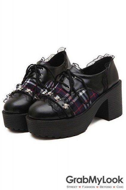 Lace Scotland Plaid Big High Heels Barqoue Rock Punk Platform Lace-Up Oxford Chunky Shoes