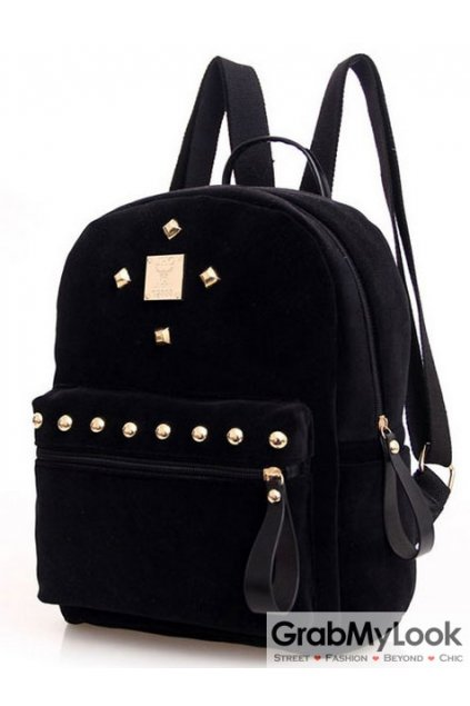 Black Velvet Suede Gold Metal Studs Punk Rock Gothic Funky Backpack