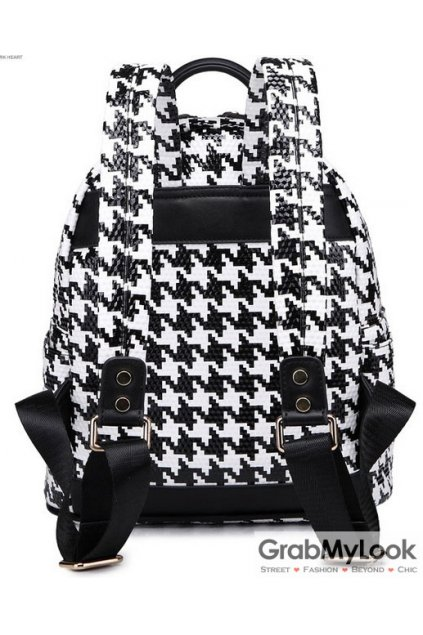 Houndstooth Checkers Metal Studs Punk Rock Gothic Funky Backpack